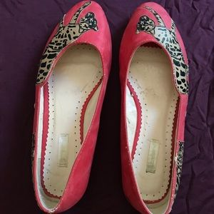 Urban Outfitters - pink flats w/ leopard cut-outs